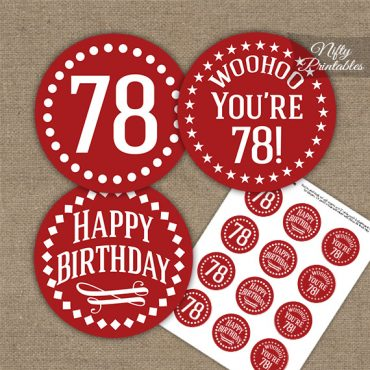 78th Birthday Cupcake Toppers - Red White Impact