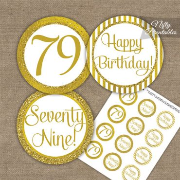 79th Birthday Cupcake Toppers - All Gold