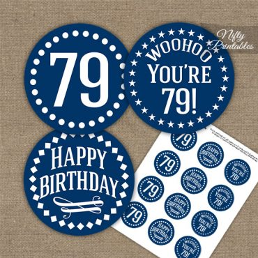 79th Birthday Cupcake Toppers - Navy White Impact