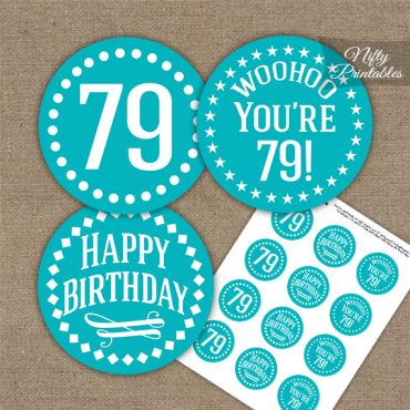 79th Birthday Cupcake Toppers - Turquoise White Impact