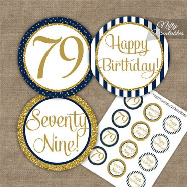 79th Birthday Cupcake Toppers - Navy Blue Gold