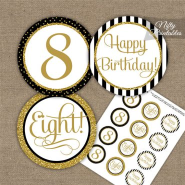 8th Birthday Cupcake Toppers - Elegant Black Gold