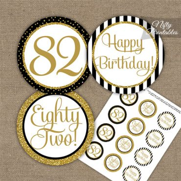 82nd Birthday Cupcake Toppers - Black Gold