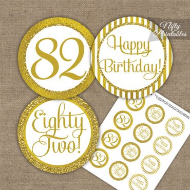 82nd Birthday Cupcake Toppers - All Gold