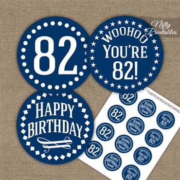 82nd Birthday Cupcake Toppers - Navy White Impact