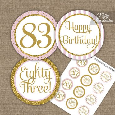 83rd Birthday Cupcake Toppers - Pink Gold