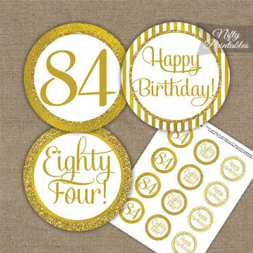 84th Birthday Cupcake Toppers - All Gold