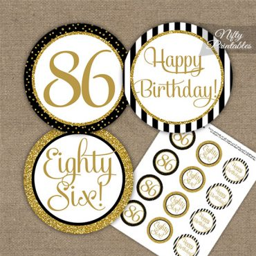 86th Birthday Cupcake Toppers - Black Gold