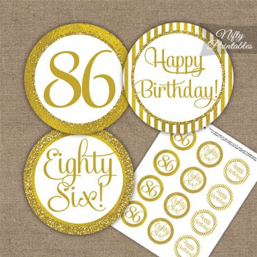 86th Birthday Cupcake Toppers - All Gold