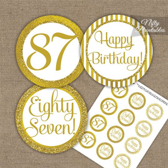 87th Birthday Cupcake Toppers - All Gold
