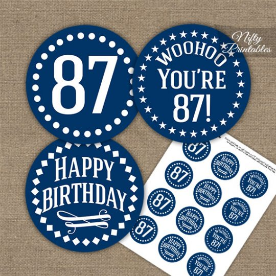 87th Birthday Cupcake Toppers - Navy White Impact