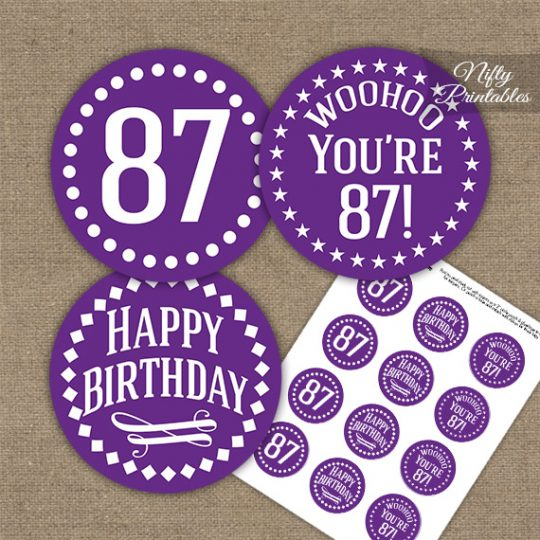 87th Birthday Cupcake Toppers - Purple White Impact