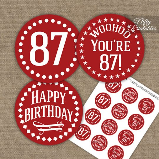 87th Birthday Cupcake Toppers - Red White Impact