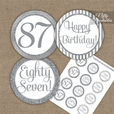 87th Birthday Cupcake Toppers - All Silver