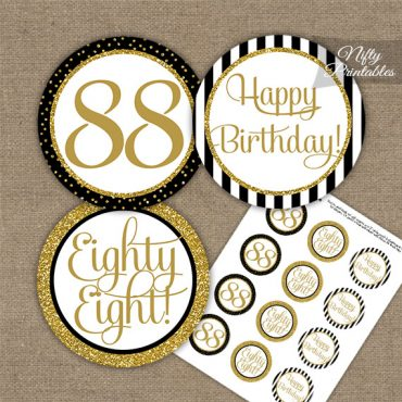 88th Birthday Cupcake Toppers - Black Gold