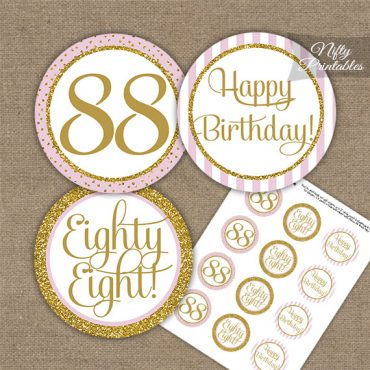 88th Birthday Cupcake Toppers - Pink Gold