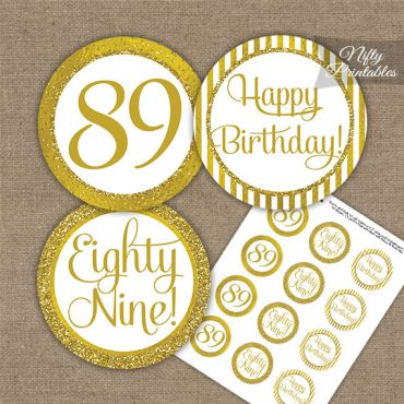 89th Birthday Cupcake Toppers - All Gold