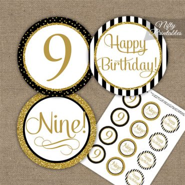9th Birthday Cupcake Toppers - Elegant Black Gold