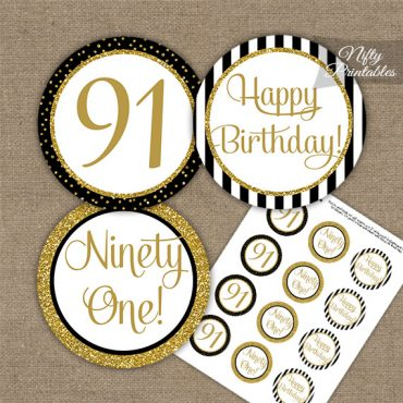 91st Birthday Cupcake Toppers - Black Gold