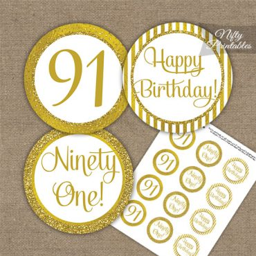 91st Birthday Cupcake Toppers - All Gold
