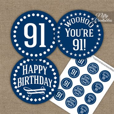 91st Birthday Cupcake Toppers - Navy White Impact