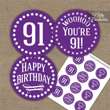 91st Birthday Cupcake Toppers - Purple White Impact
