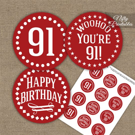 91st Birthday Cupcake Toppers - Red White Impact