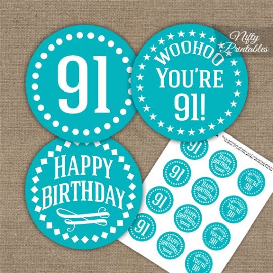 91st Birthday Cupcake Toppers - Turquoise White Impact