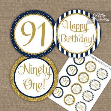 91st Birthday Cupcake Toppers - Navy Blue Gold