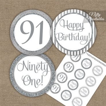 91st Birthday Cupcake Toppers - All Silver