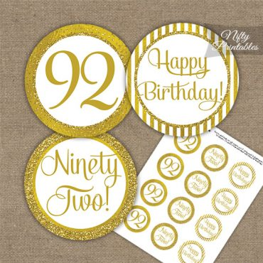 92nd Birthday Cupcake Toppers - All Gold