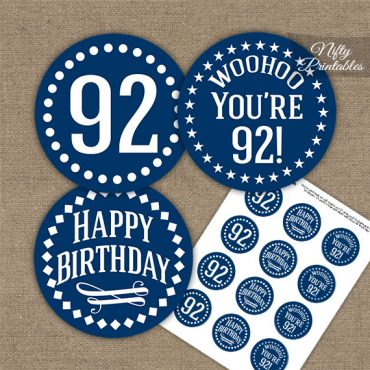 92nd Birthday Cupcake Toppers - Navy White Impact