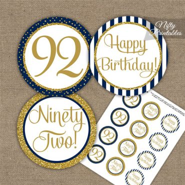 92nd Birthday Cupcake Toppers - Navy Blue Gold