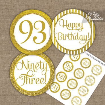 93rd Birthday Cupcake Toppers - All Gold