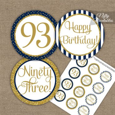 93rd Birthday Cupcake Toppers - Navy Blue Gold