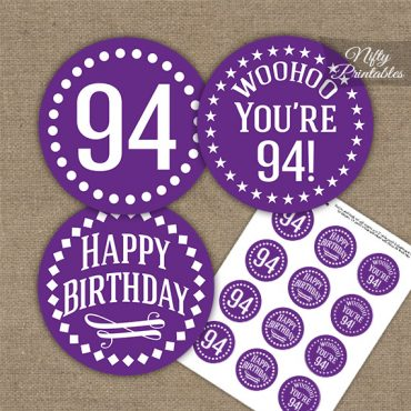 94th Birthday Cupcake Toppers - Purple White Impact