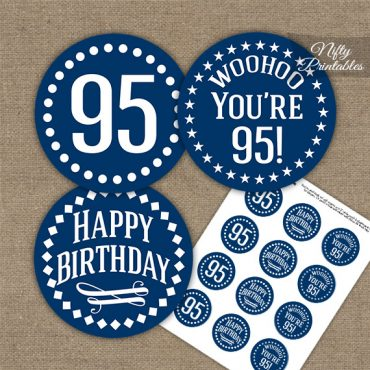95th Birthday Cupcake Toppers - Navy White Impact