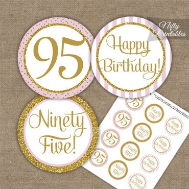95th Birthday Cupcake Toppers - Pink Gold