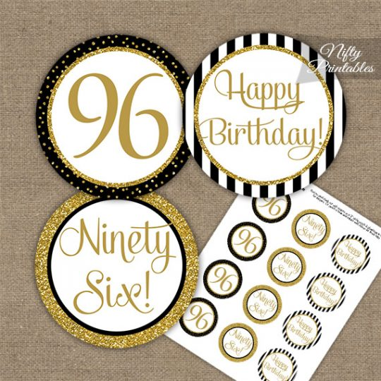 96th Birthday Cupcake Toppers - Black Gold