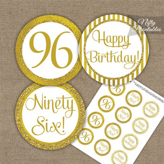 96th Birthday Cupcake Toppers - All Gold