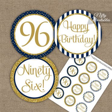 96th Birthday Cupcake Toppers - Navy Blue Gold