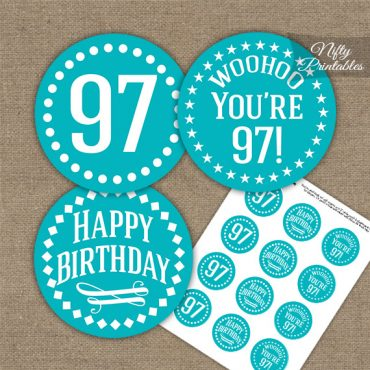 97th Birthday Cupcake Toppers - Turquoise White Impact