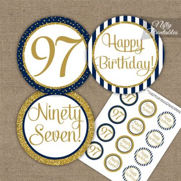 97th Birthday Cupcake Toppers - Navy Blue Gold