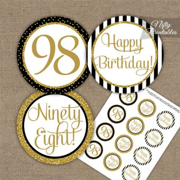 98th Birthday Cupcake Toppers - Black Gold