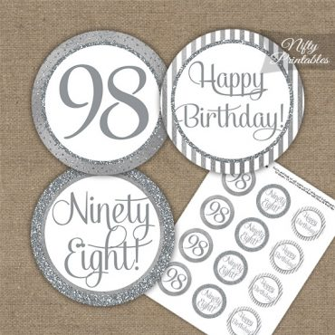 98th Birthday Cupcake Toppers - All Silver