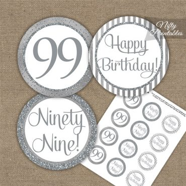 99th Birthday Cupcake Toppers - All Silver