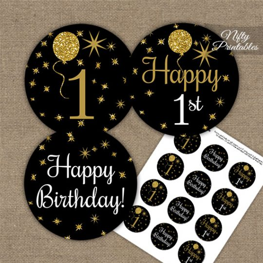 1st Birthday Cupcake Toppers - Balloons Black Gold