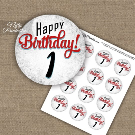1st Birthday Cupcake Toppers - Retro White Red