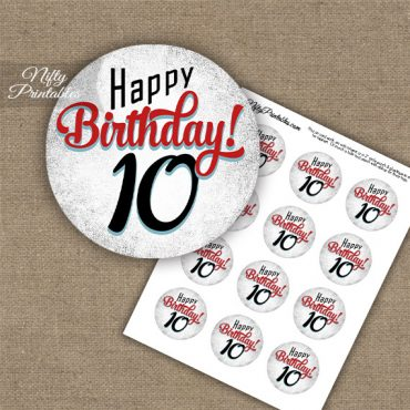10th Birthday Cupcake Toppers - Retro White Red