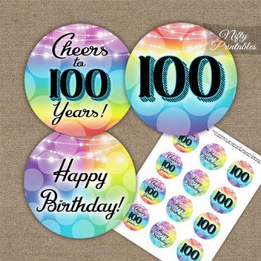 100th Birthday Cupcake Toppers - Rainbow LGBTQ
